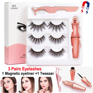 Wholesale eyes lashes for sale - Group buy 3 Pairs Magnetic Eyelashes False Lashes Liquid Eyeliner Tweezer eye makeup set D magnet False eyelashes Natural reusable No Glue Needed