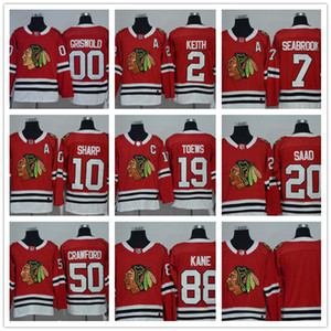 Wholesale 2017-18 Mens 7 Seabrook 10 Sharp 2 Keith 19 Toews 20 Saad 88 Kane 50 Crawford 00 Griswold Blank Red Home Premier Jersey
