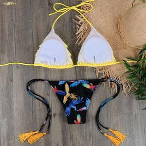 Wholesale Micro Bikini Biquini Sexy Ruffle Women Halter Push Up Brazilian Bikini Yellow Swimsuit Bandage Bathing Swimwear Suit