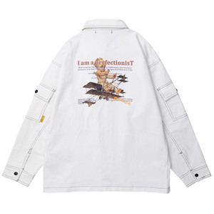 Wholesale 2019 Mens Hip Hop Cargo Jacket Streetwear Harajuku Retro Jacket Windbreaker Kid Plane Print White Jacket Coat Autumn Street Wear