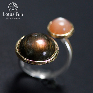 Wholesale mysterious rings for sale - Group buy Lotus Fun Real Sterling Silver Natural Labradorite Moonlight Stone Handmade Fine Jewelry Mysterious Lake Rings For Women J190705