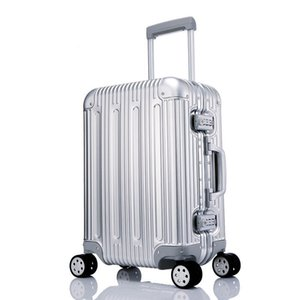 100% Metal Luggage Aluminum Alloy Carry-Ons Rolling Luggage Suitcase High Strength Bag TSA Unlock Silver 20 Inch on Sale