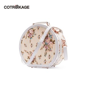 Wholesale COTRUNKAGE Small Round Hat Box Beige Floral Carry On Luggage Bag Cosmetic Case with Strap