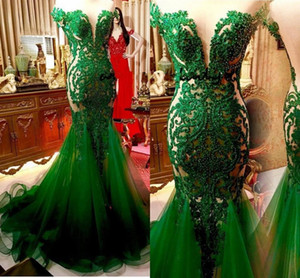 Wholesale Hunter Emerald Green Mermaid Evening pageant dresses 2020 Saudi Arabic Lace Sexy Sheer Back Prom Gowns Vestidos Longo