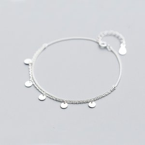 Wholesale Bohi real Sterling silver Fine Jewelry Multi Layers Polished Round Coin Chain Bracelet women s GTLS773