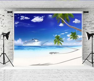 Wholesale Dream x5ft Cruise Ship Beach Backdrop Palm Tree Blue Sky Photography Background for Photographer Summer Holiday Photo Shoot Studio Prop