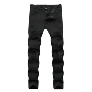 Crazy2019 Pop Lguc.H Men's Jeans Casual Skinny Pants Men Solid Black White Pencil Jeans Ripped Beggar Male Size 28 To 38 on Sale