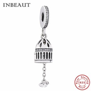 Wholesale Pandora Style New Products Sterling Silver Cage Charm Round Cubic Zirconia Lovely Little Bird fit Pandora Bracelet Beads Jewelry