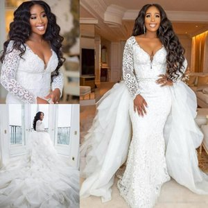 Graceful Mermaid Lace Plus Size Wedding Dresses Beaded Deep V Neck Long Sleeves Bridal Gowns With Detachable Train robes de mariée on Sale