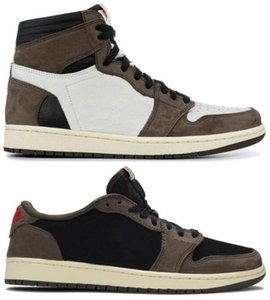 Best Quality 1 High OG Travis Scotts Cactus Jack Suede Dark Mocha TS SP 3M Basketball Shoes Men Women 1s Low Travis Scotts Sneakers With Box