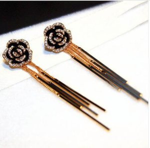 Women High Quality Anti-Allergy Earring Female Real Rose Gold Long Tassel Rose Flower Earring Jewelry