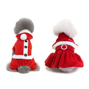 2 Types Christmas Pet Dog Clothes Costume Princess Dress Hat Apparel Puppy Warm Winter Pet Hoodie For Boy Dog Girl Cat S-XXL