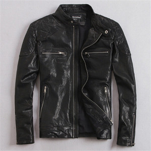 Wholesale Real Leather Jacket Hot Sale Fall Winter Fashion Men s Black Color Genuine Leather Jacket Men s Wear Top Quality