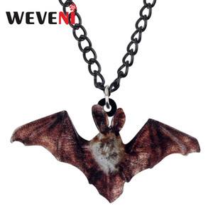 Wholesale WEVENI Acrylic Halloween Flying Bat Necklace Long Choker Fashion Festival Decoration Jewelry Kid Girl Gift Charm Party Accessory