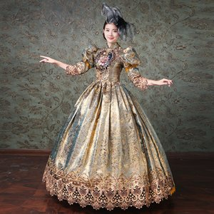 Wholesale Elegant Women Court Dresses Medieval Renaissance European Noble Embroidery Flower Prom Champagne Formal Party Royal Dress Gown