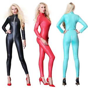 Wholesale Women s Sexy Faux Leather Catusit Vinyl Bodysuit Wetlook Long Sleeve Zipper Open Crotch Jumpsuit Party Stage Dance Clubwear