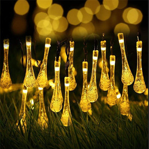Wholesale NEW Solar String Lights Feet LED Water Drop Solar Fairy Waterproof Lights for Garden Patio Yard Home Parties Multi Color