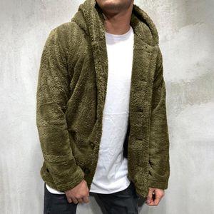 Cashmere Winter Jacket Men Fur Coat Fleece Tops Button Jacket Casual Solid Men Single-Breasted Fake Fur Coat Jackets O07