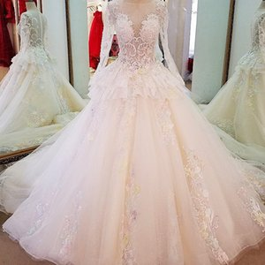 Wholesale Long Sleeves Lace Wedding Gowns Ball Gown Zipper Back Colorful Lace Flowers Wedding Dresses Custom Length Train New Design Bridal Gown