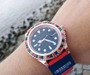 Top Quality Automatic 2813 Movement Candy Diamond Dial Xiabisour Women Watch Red Sweatband Female Watch Free Shipping