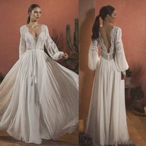 2020 Sexy V neck Back Boho Chiffon Wedding Dresses Bridal Gowns Lace Deep V neck Beaded Ruched Wedding Bridal Gowns Cheap vestidos De on Sale