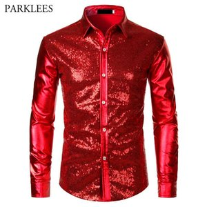 Wholesale red sequin shirts for sale - Group buy Red Metallic Sequins Glitter Shirt Men New Disco Party Halloween Costume Chemise Homme Stage Performance Shirt Male Camisa
