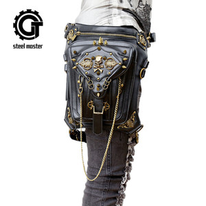 Wholesale Fashion Gothic Steampunk Skull Retro Rock Bag Men Women Waist Bag Shoulder Bag Phone Case Holder Vintage Leather Messenger