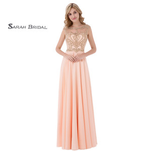 Simple Sleeveless Jewel Hollow Back Floor Length Prom Dresses Ruched Beads Chiffon A-Line Homecoming Dress In Stock LX475 on Sale