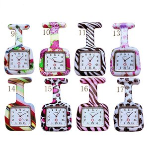 Wholesale Square Dial Fashion Unisex Nurse Doctor Jelly Silicone Rubber camouflage quartz watch Zebra Leopard Prints Pocket candy watches