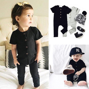 INS Toddler Baby Boys Girls Blank Rompers 2 Colors Solid Black Grey Available Cotton Short Sleeve Front Button Newborn Jumpsuits for 0-2T