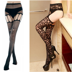 Wholesale Garters Underwear Sexy Lucency Sheer Top Thigh Highs Lace Stockings Intimates Lingerie Women s Black Garter Suspender Belt sex