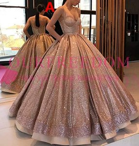 Wholesale Shining Rose Gold Sequins Prom Dresses 2019 Maxi Style Spaghetti Strap Evening Party Ball Gowns Formal Evening Party Occasion Dresses