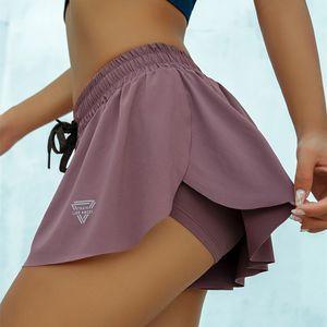 Summer Running Shorts Women 2 In 1 Marathon Quick Dry Shorts Gym Loose Sport Shorts Breathable Yoga