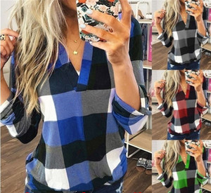 Wholesale Korean Woman Plaid T-shirt Shirts V Neck Long Sleeves Lattice T shirts Blouse Tops For Ladies Maternity Clothes Tees Plus size