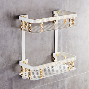 Bathroom Shelf Space Aluminum White & Gold Shower Shampoo Soap Cosmetic Shelf Bathroom Accessories Storage Organizer Rack Holder T190708