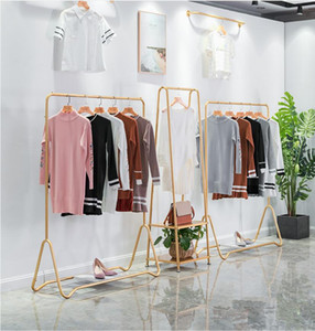 Wholesale special hangers resale online - Gold floor hanger combination iron clothing store gold display special hanging rack type wall hanging floor stand clothing rack