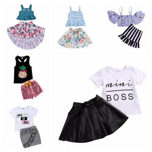 Wholesale Baby Girl Clothes Summer Boutique Clothing Sets Strapless Irregular Floral Flowers Skirts Suits Letter Printed Tops Shorts Outfits B6042