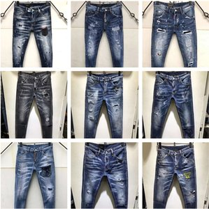 Wholesale 2019 Top Brand ds2 jeans mens jeans Men Denim black Jeans Embroidery Pants Fashion Holes Trousers Italy Size