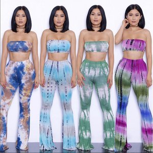 Women's Two-Piece Romper Sexy Tie Dye Print Bandeau Top Flared Bell Bottom Pants Jumpsuits Outfits Size (S-2XL) Item No 6091
