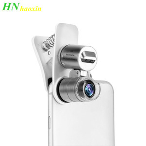 Wholesale HaoXin Universal Mobile Phone Microscope Macro Lens X Optical Zoom Magnifier Micro Camera Clip LED Lenses For iPhone Android Samsung