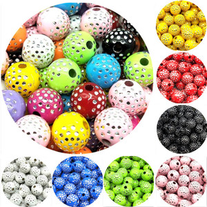 Wholesale 100pcs mm Cheap New Fashion Beads Arrival Round Acrylic Beads Rhinestones Charms Bead For Necklace Bracelet Diy Accessories