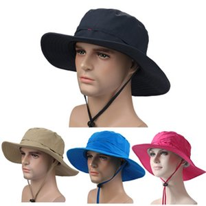 Wholesale fishing rode resale online - Unisex Outdoor Fish Hat Shading Flat Caps Sunscreen Ultraviolet proof Folding Solid sunbonnet Wide Brim Hats Riding Breathable Hats LJJJ16