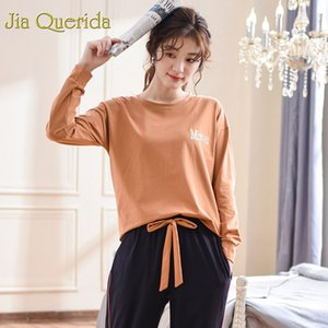 J&Q Pyjamas Women 2019 Fashion 100% Cotton Pj Set Caramel Sleep Clothes Drawstring Pants Long Sleeves Plus Size Xxxl Home Suit