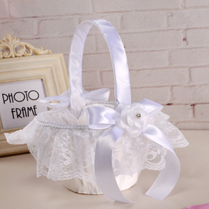 Wholesale White Ivory Wedding Flower Basket With Elegant Satin Lace Flower Girl Baskets Wedding Favors Decoration CPA1913