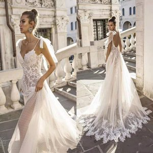 Wholesale Vestido De Noiva 2019 Sexy Boho Sheath Wedding Dresses Lace Backless V Neck Spaghetti Straps Bow Appliques Beach Bridal Gowns Summer