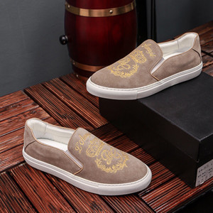 Wholesale Men Designer Luxury Casual Shoes Khaki Golden Embroidery Slip on Breathable Fashion Shoes Street Light Top Quality with Box 9945CE