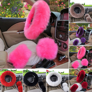3pcs set Winter Car Steering wheel Cover 12 Colors Long Wool Pink Fur Universal Steering Wheel Cover Car Accessories Newest