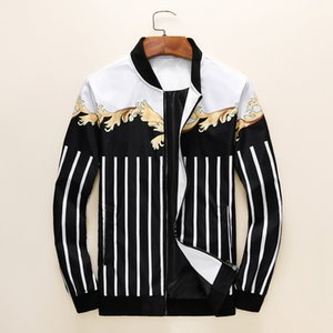 Wholesale NEW ARRIVAL Trend Personality Mens Designer Jackets Side Slit Pocket Jacket Fashion White Striped Printing Youngth Windbreaker Colors