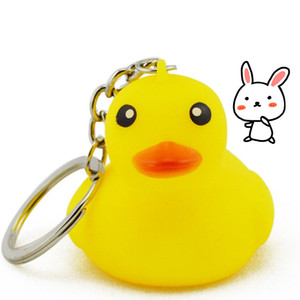 Wholesale Hot Yellow duck key chains cartoon key chain PVC animal key chain duck bag pendant children s toys Rubber Duck T2C5023