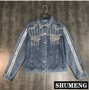 Wholesale Spring and Autumn Women Short Jeans Jacket Girl Streetwear Blue Denim Jackets Bead Sequins Diamonds Long Sleeve Cowboy Coat
